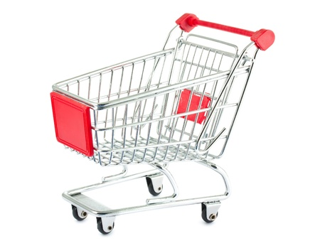 Single empty shopping cart isolated on white background photo