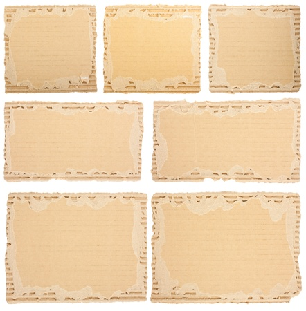 Collection of a cardboard pieces on white background  Each one is shot separately photo