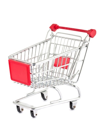 shopping trolley: Single empty shopping cart isolated on white background Stock Photo