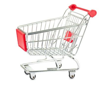 Single shopping trolley isolated on white background photo