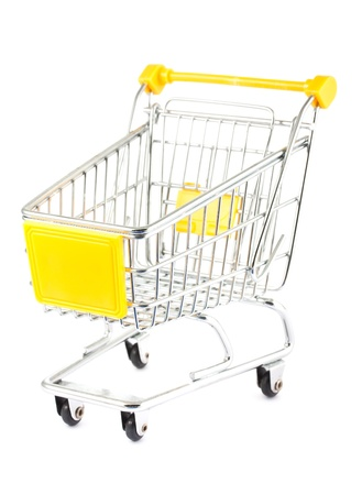 yellow car: Empty shopping cart isolated on white background