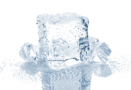 Small and big ice cube with water drops on white background photo