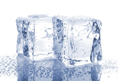 Two ice cubes isolated on white background