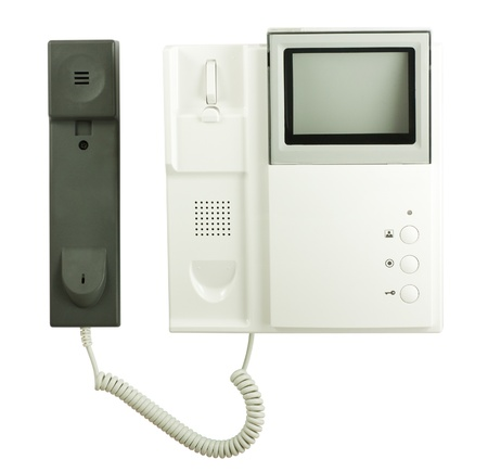 intercom: Intercom system with handset isolated on white