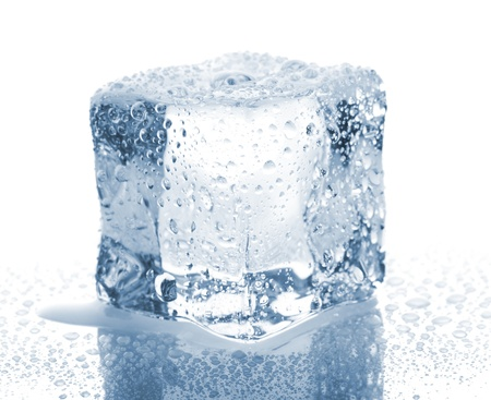 melting ice: Ice cube with water drops isolated on white background Stock Photo