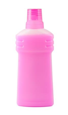 Pink plastic bottle isolated on white background Stock Photo - 13334513