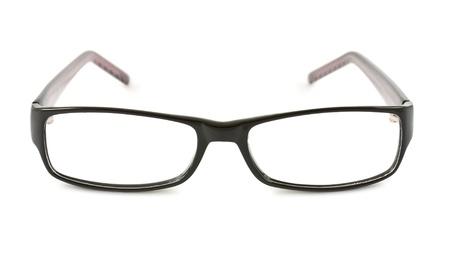 eyeglass frame: Photo of black glasses isolated on white background Stock Photo