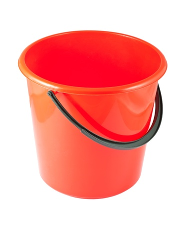 Red plastic bucket isolated on white background Stock Photo - 13613662
