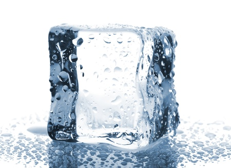 Single ice cube with water drops isolated on white background