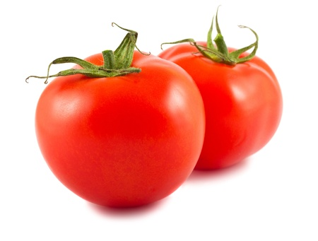 Pair of ripe tomatoes isolated on white background Stock Photo - 13883140