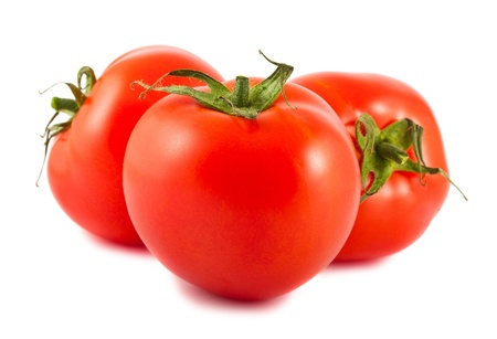 Three ripe red tomatoes isolated on white background Stock Photo - 13934576