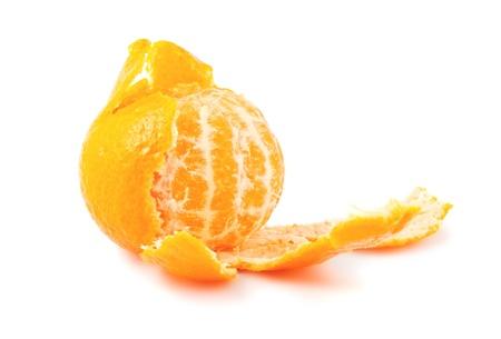 Peeled ripe tangerine isolated on white background Stock Photo - 14016239