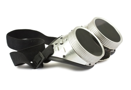 Retro welding goggles isolated on a white background  photo