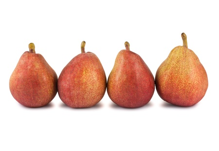 Four red ripe pears isolated on white background photo