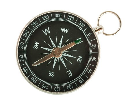magnetic north: Black Compass Closeup Isolated on White Background