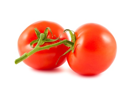 Two tomatoes on the branch isolated over white background photo