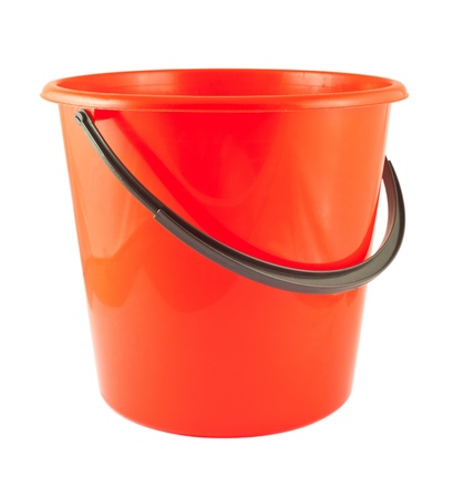 Red plastic bucket isolated on white background Stock Photo - 14231087