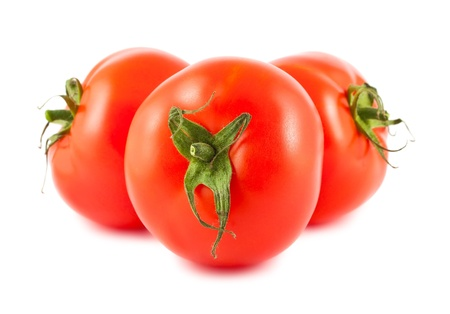 Ripe red tomatoes isolated on white background Stock Photo - 14231092