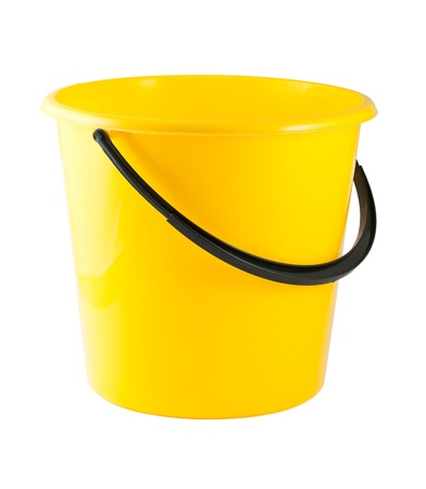 Yellow plastic bucket isolated on white background Stock Photo - 14272337