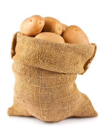 Raw potatoes in burlap sack isolated on white background photo