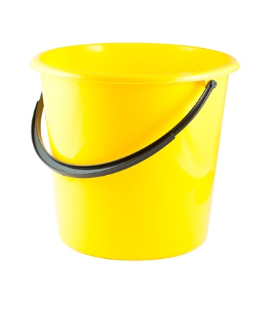 everyday jobs: Yellow plastic bucket isolated on white background Stock Photo