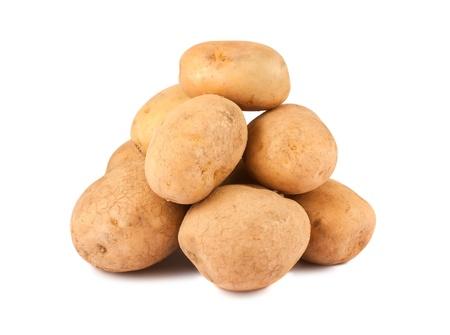 Heap of ripe potato isolated on white background photo