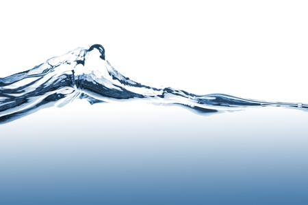 sediento: Ondas de agua azul sobre fondo blanco