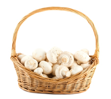 champignon: Fresh mushrooms in a wicker basket isolated on white background Stock Photo
