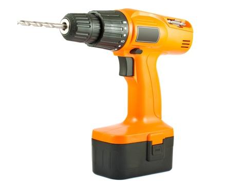 herramientas de mec�nica: Taladro sin cable con giro poco aislado en blanco