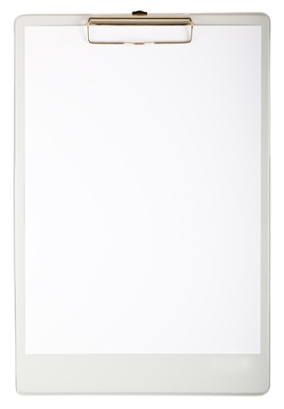 Grey clipboard and paper isolated on white background photo