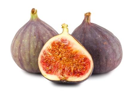 produce sections: Fresh fig fruits isolated on white background