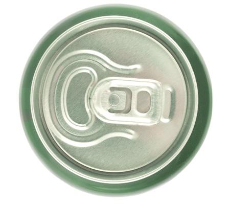 jarra de cerveza: Aluminio superior se puede ver aislado sobre fondo blanco