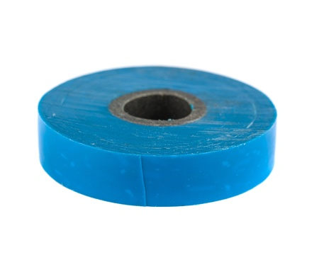 sellotape: Roll of blue insulating tape isolated on a white background Stock Photo