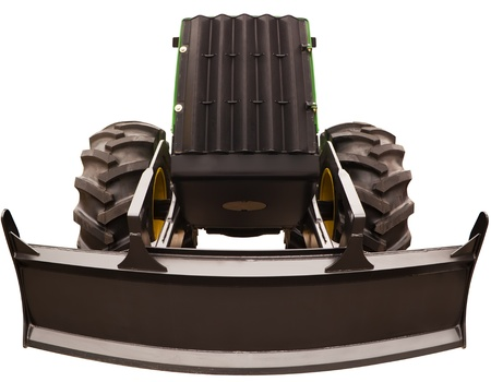 Bulldozer with bucket wide angle photo isolated on white background Stock Photo - 16565581