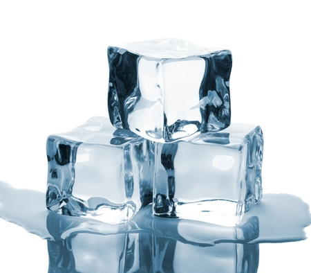 Three ice cubes and water on glass table isolated on white background Stock Photo - 16642502