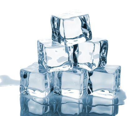ice cubes: Six ice cubes with reflection isolated on white background Stock Photo