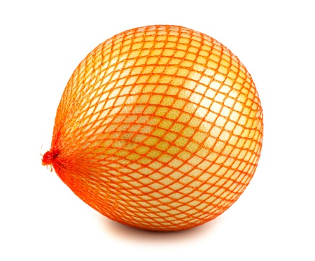 Pomelo fruit wrapped in red plastic reticle isolated on white background photo