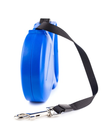 Blue retractable leash for dog isolated on white background Stock Photo - 17380818