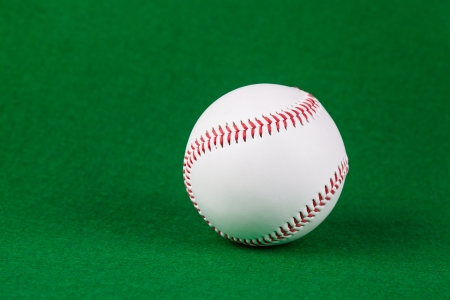Single white baseball softball on green background Stock Photo - 17450238