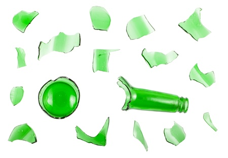 Top view of broken green bottle isolated on white background photo