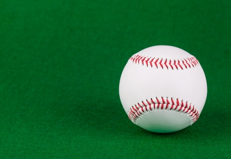 Single white baseball ball on green background Stock Photo - 18134701