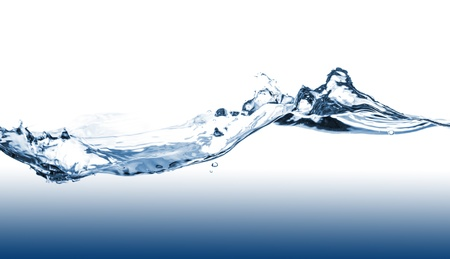 Blue water splash op een witte achtergrond