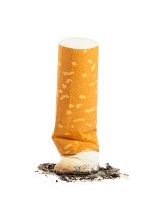 Cigarette butt with ash isolated on white background Stock Photo