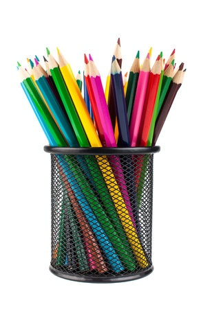 Various color pencils in black office cup isolated on white background photo