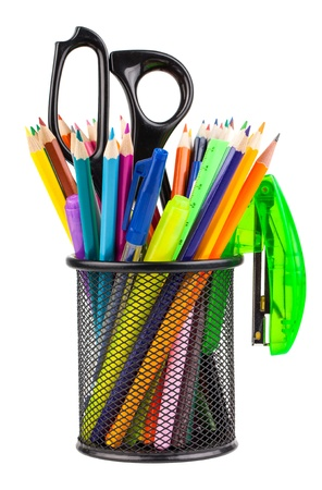 highlighter pen: Office cup with scissors, pencils and pens isolated on white background Stock Photo