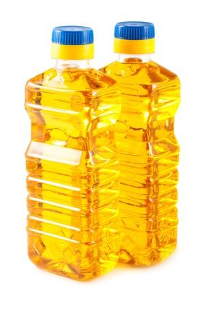 corn flower: Two plastic bottles of sunflower oil isolated on white background Stock Photo