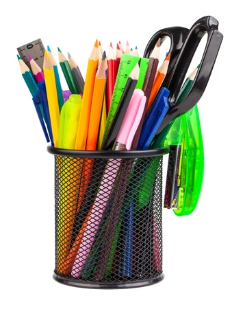 pencil holder: Office cup with scissors, pencils and pens isolated on white background Stock Photo