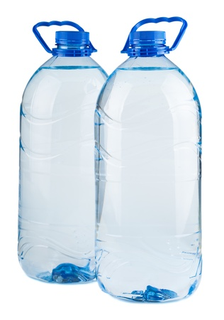 Pair of big bottles of water isolated on white background photo