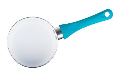 steel pan: Azul vacío de acero inoxidable olla de vista superior aislado en un fondo blanco