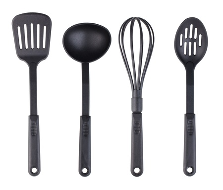 Plastic black kitchenware collection isolated on white background photo